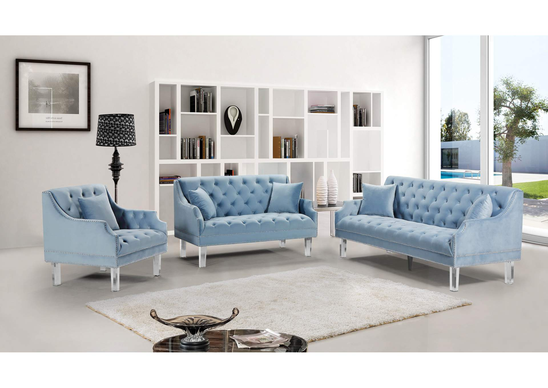 Picture of: Roxy Sky Blue Velvet Sofa And Loveseat Best Buy Furniture And Mattress