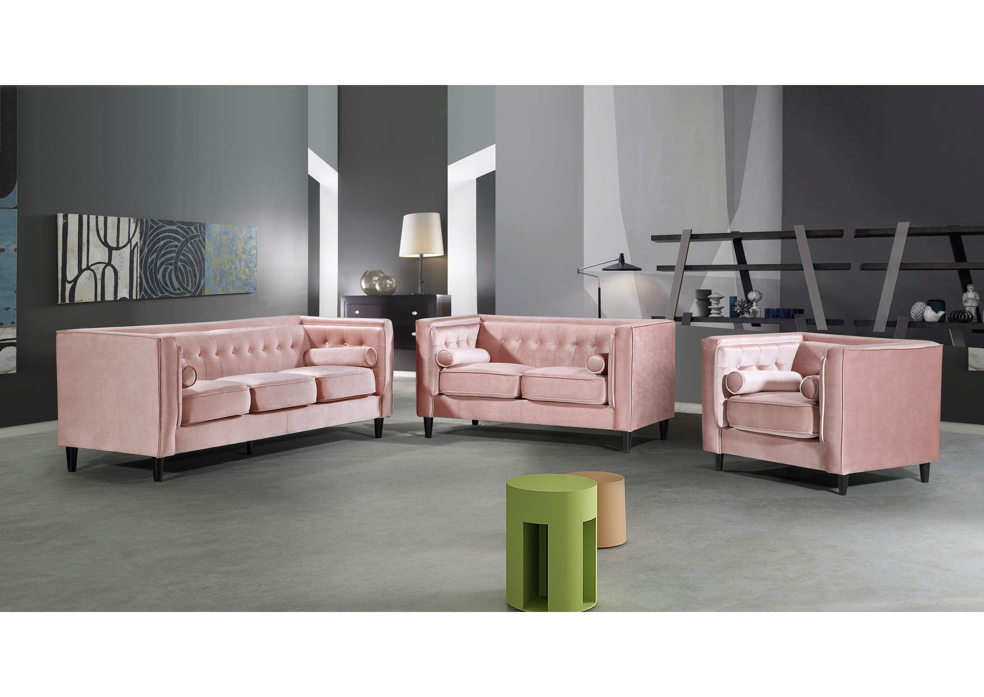 Taylor Pink Velvet Sofa And Loveseat Kirk Imports