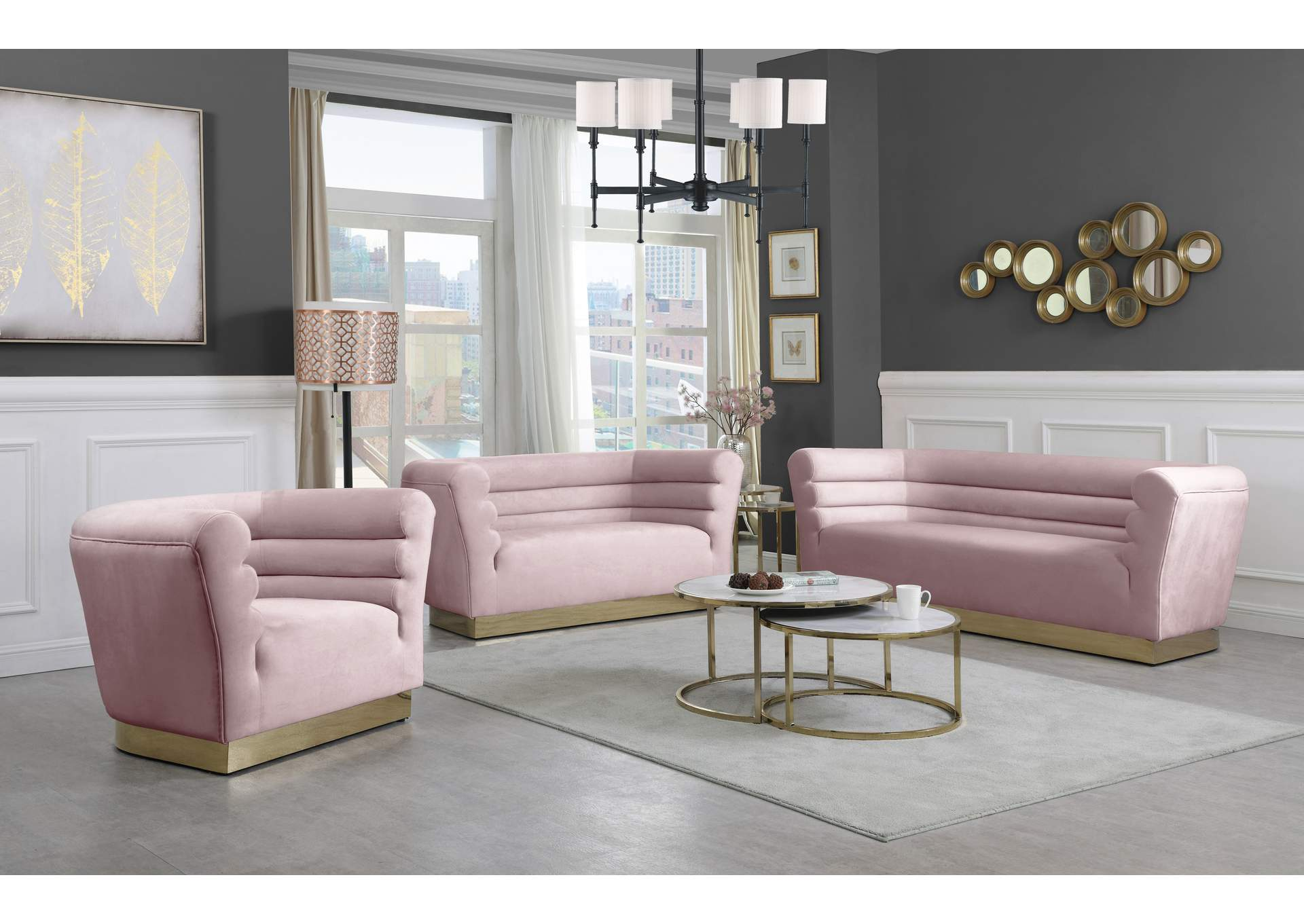 Bellini Pink Velvet Sofa And Loveseat Best Buy Furniture And Mattress