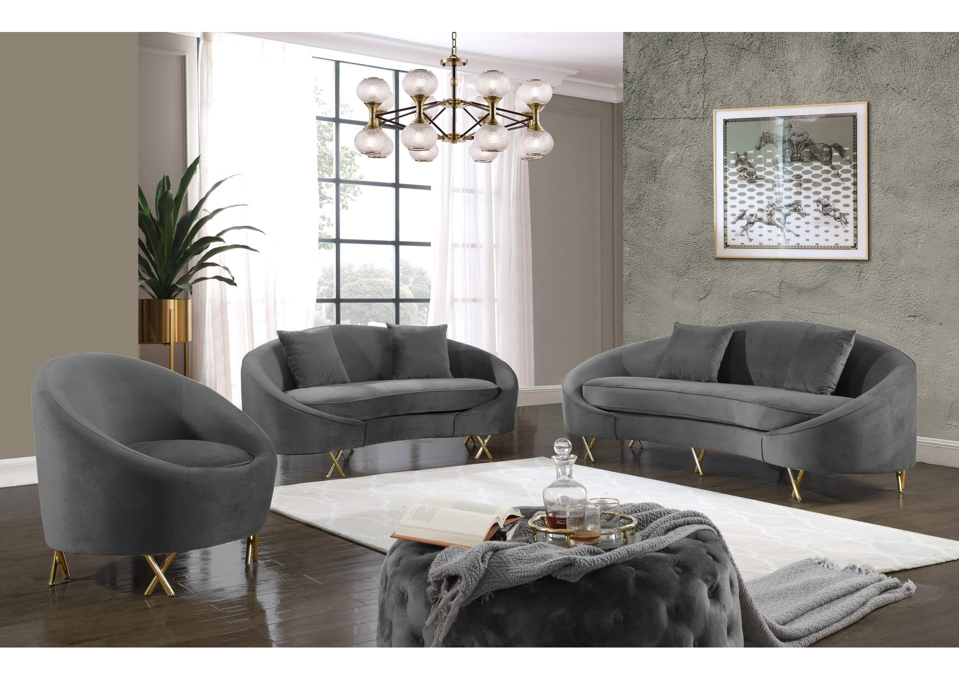 Serpentine Grey Velvet Sofa And Loveseat Best Buy Furniture And Mattress