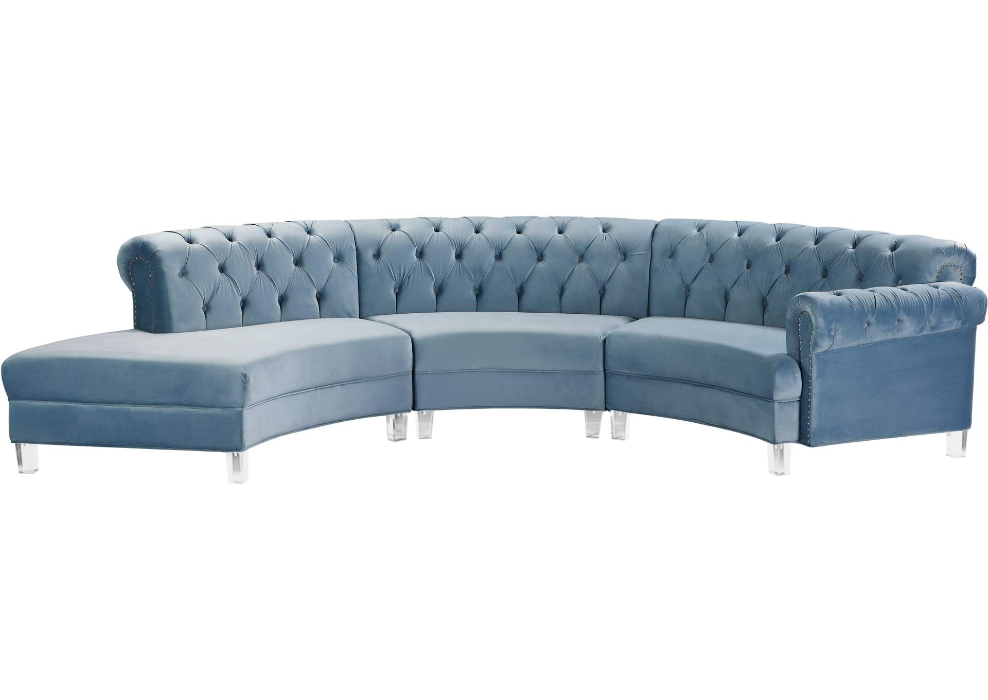Anabella Sky Blue Velvet 3pc Sectional Best Buy Furniture And Mattress
