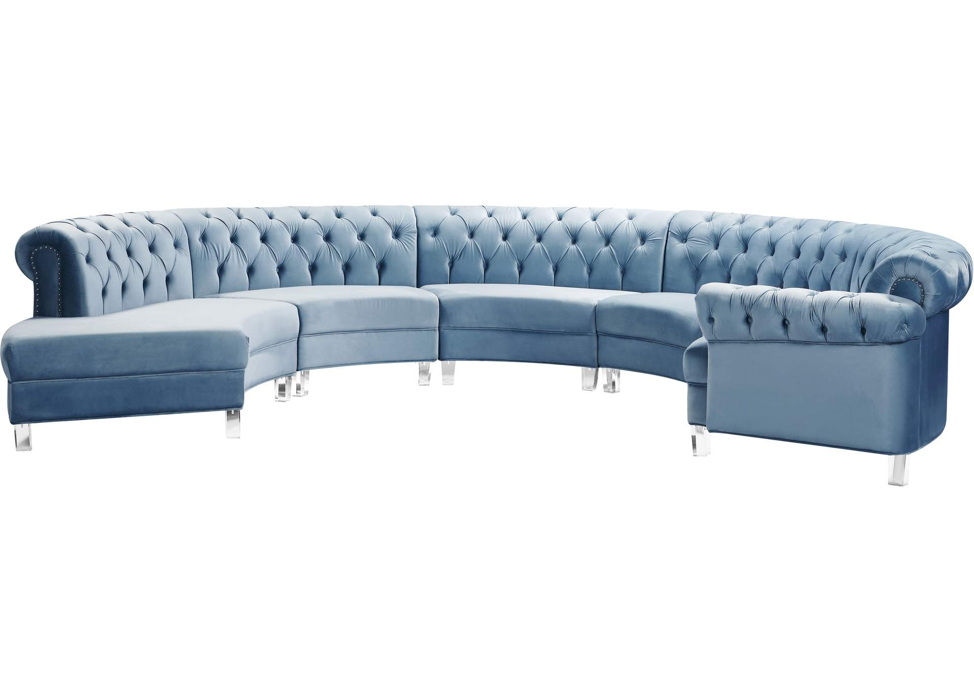 Anabella Sky Blue Velvet 5pc Sectional Best Buy Furniture And Mattress