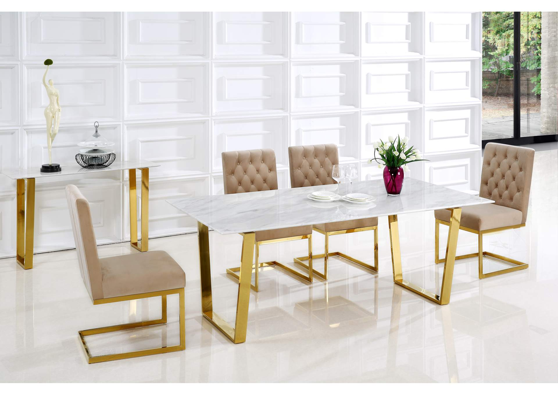 Cameron Gold Dining Table,Meridian Furniture