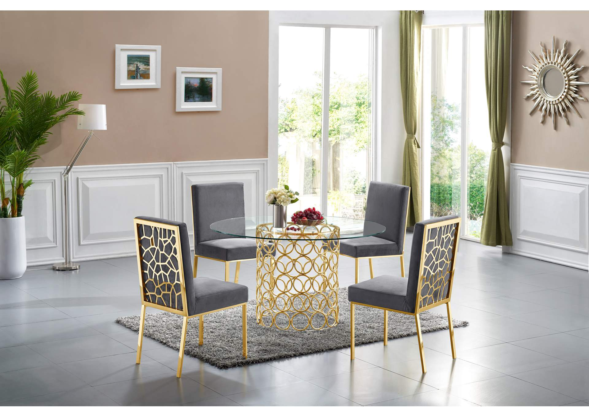 Opal Gold Dining Table W 4 Grey Chair, Gold Dining Room Sets