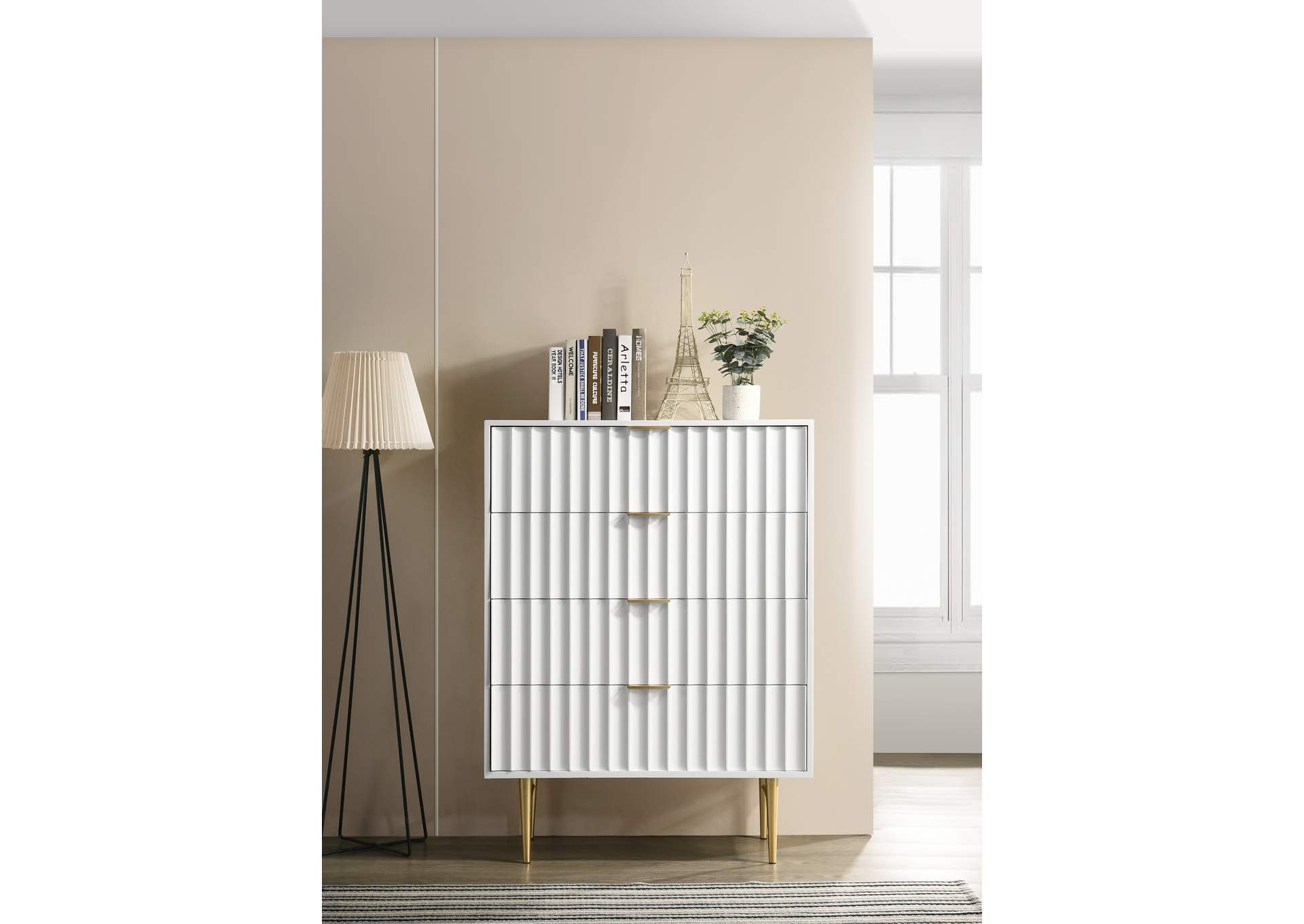 Modernist White Gloss Chest,Meridian Furniture