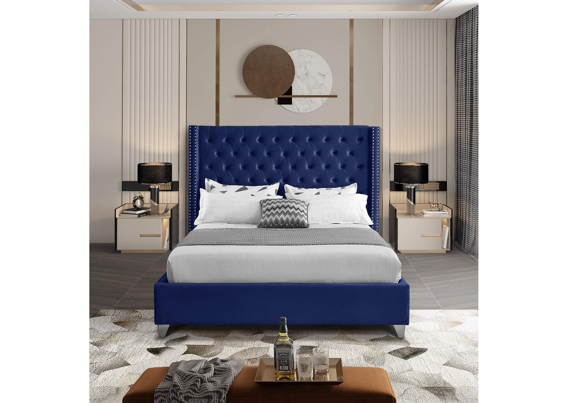 Aiden Navy Velvet King Bed,Meridian Furniture