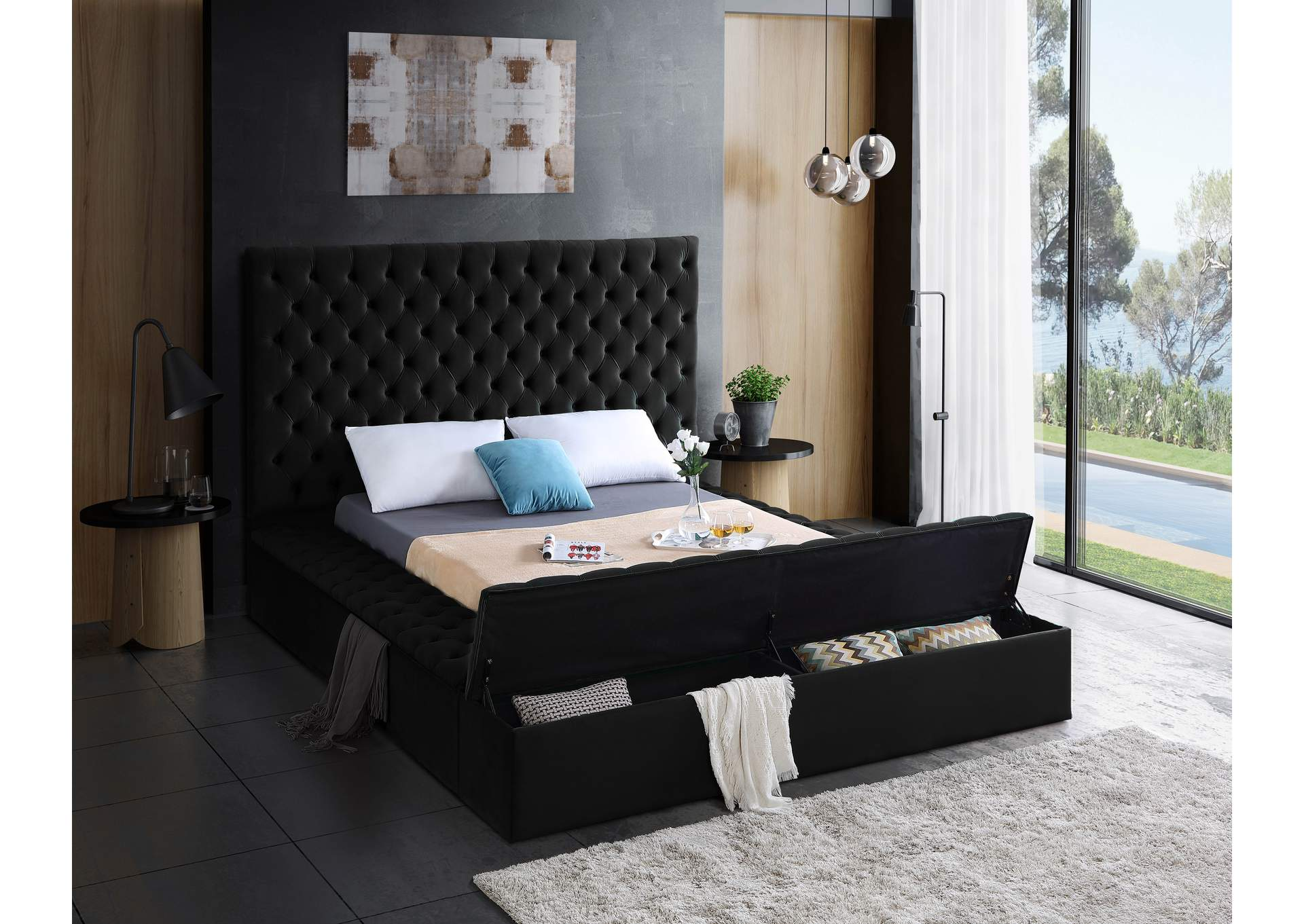 Bliss Black Velvet King Bed (3 Boxes),Meridian Furniture