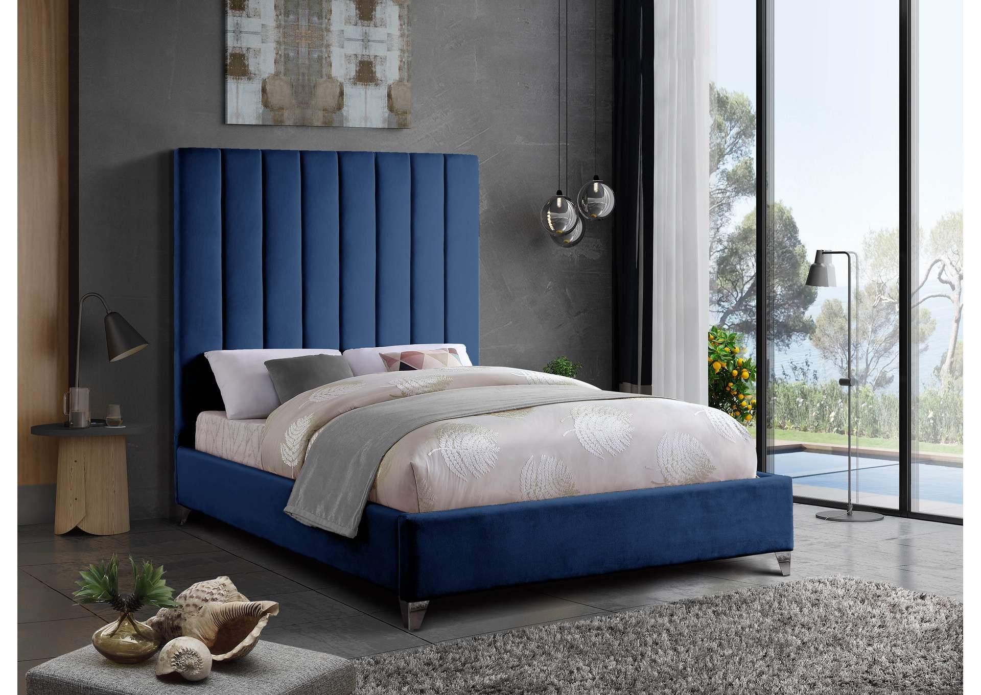 Via Navy Velvet Full Bed Home Gallery Furniture Store Philadelphia Pa