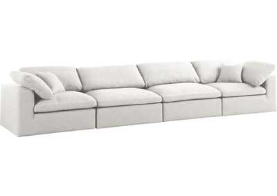 Image for Serene Cream Linen Fabric Deluxe Cloud Modular Sofa