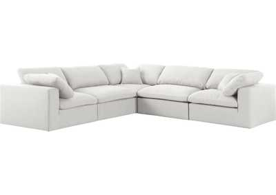 Image for Serene Cream Linen Fabric Deluxe Cloud Modular Sectional
