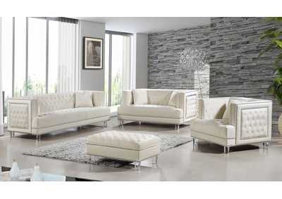 Image for Lucas Cream Velvet Sofa and Loveseat