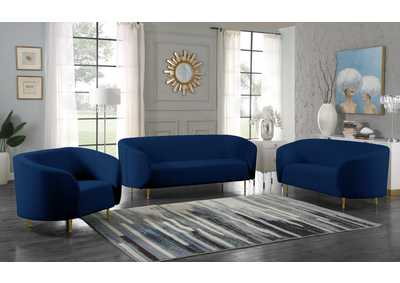 Image for Lavilla Navy Velvet Sofa and Loveseat