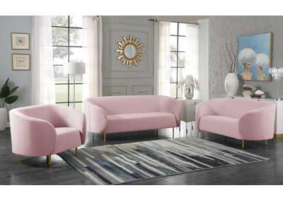 Image for Lavilla Pink Velvet Sofa and Loveseat