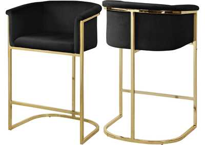 Image for Donatella Black Velvet Stool