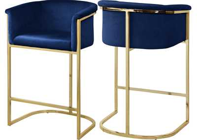 Image for Donatella Navy Velvet Stool