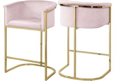 Image for Donatella Pink Velvet Stool
