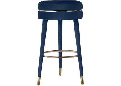 Image for Coral Navy Velvet Bar Stool [Set of 2]