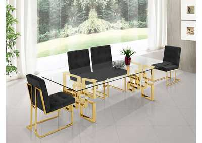 Image for Pierre Gold Dining Table w/4 Black Chair