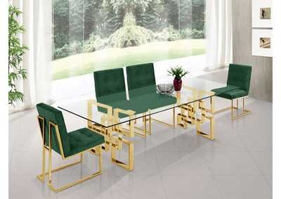 Image for Pierre Gold Dining Table w/4 Green Chair