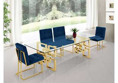 Image for Pierre Gold Dining Table w/4 Navy Chair