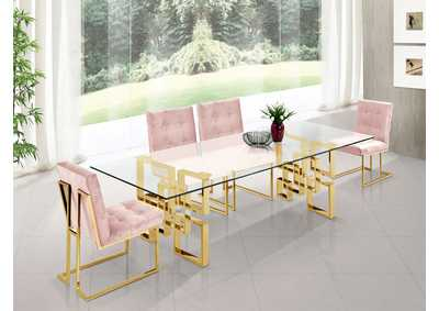 Image for Pierre Gold Dining Table w/4 Pink Chair