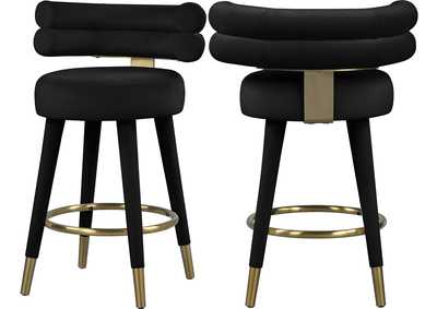 Image for Fitzroy Black Velvet Counter Stool [Set of 2]
