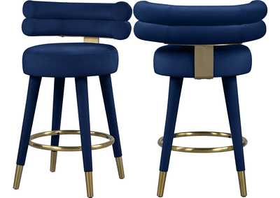Image for Fitzroy Navy Velvet Counter Stool [Set of 2]