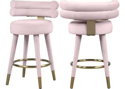 Image for Fitzroy Pink Velvet Counter Stool [Set of 2]