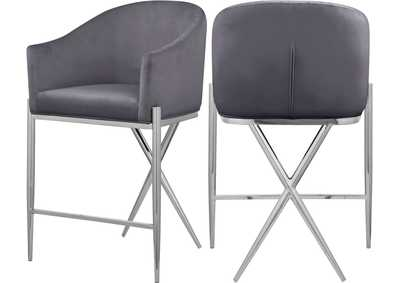 Image for Xavier Grey Velvet Counter Stool [Set of 2]