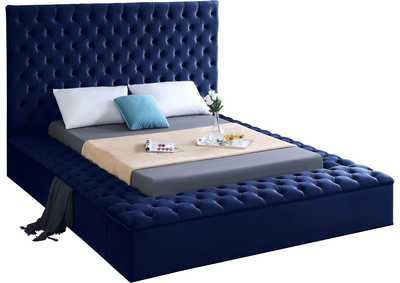 Image for Bliss Navy Velvet Queen Bed (3 Boxes)
