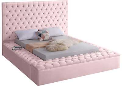 Bliss Pink Velvet Queen Bed (3 Boxes)