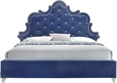 Image for Caroline Navy Velvet Queen Bed (3 Boxes)