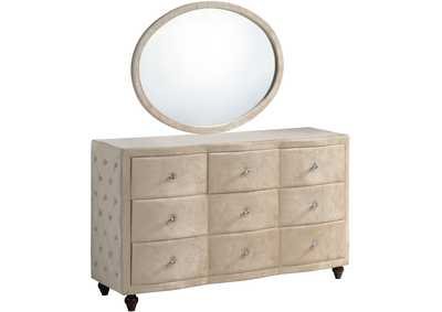 Image for Diamond Golden Beige Velvet Dresser w/Mirror