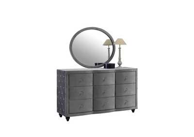 Image for Hudson Grey Velvet Dresser w/Mirror