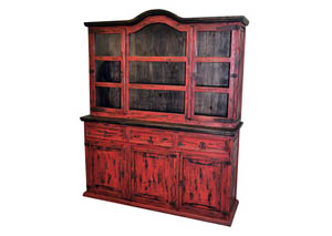 Image for Red Scraped Medium 2 Piece China Cabinet