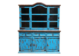 Image for Turquoise Scraped Medium 2 Piece China Cabinet
