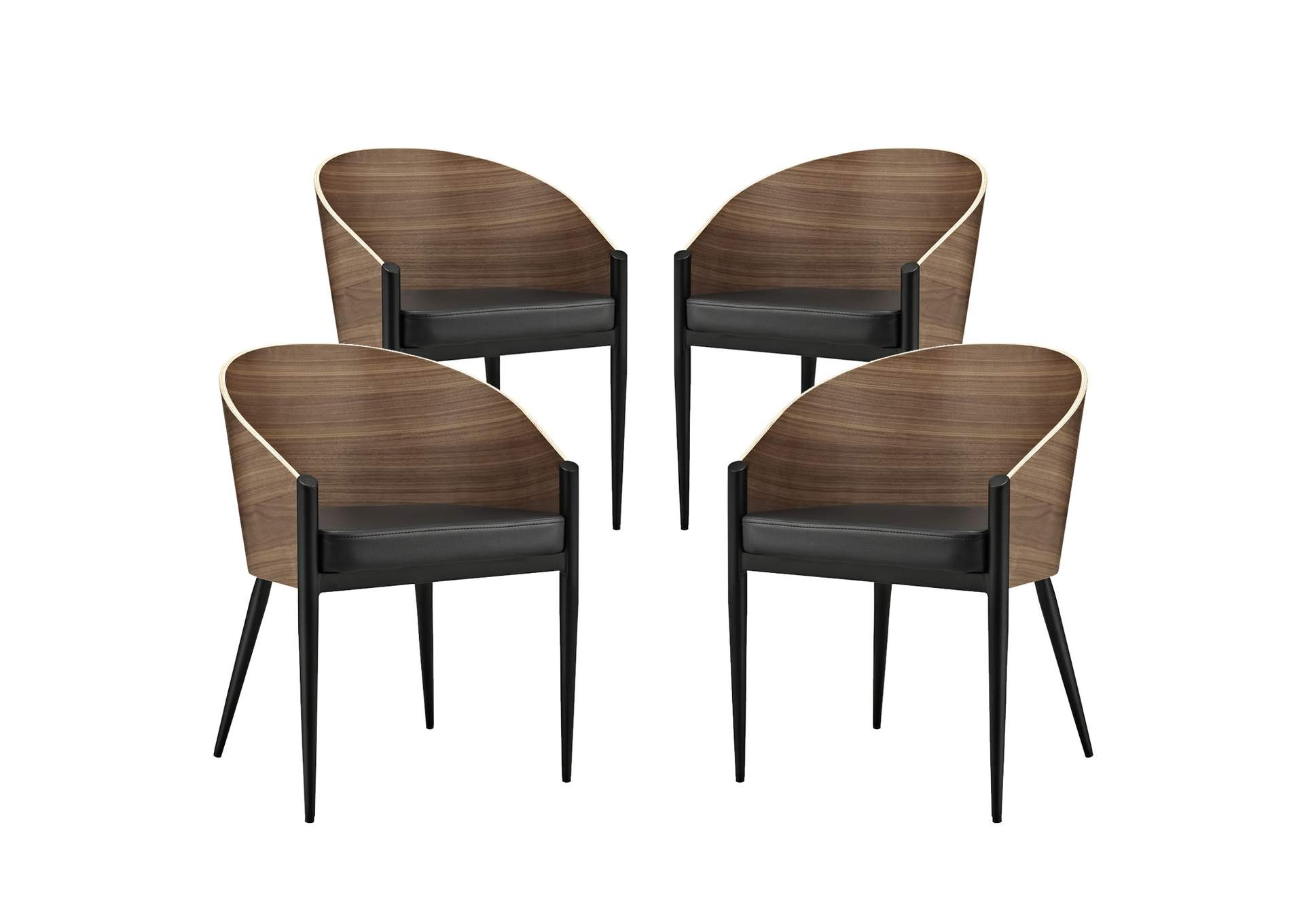 Cooper Walnut Dining Chairs [Set of 4],Modway