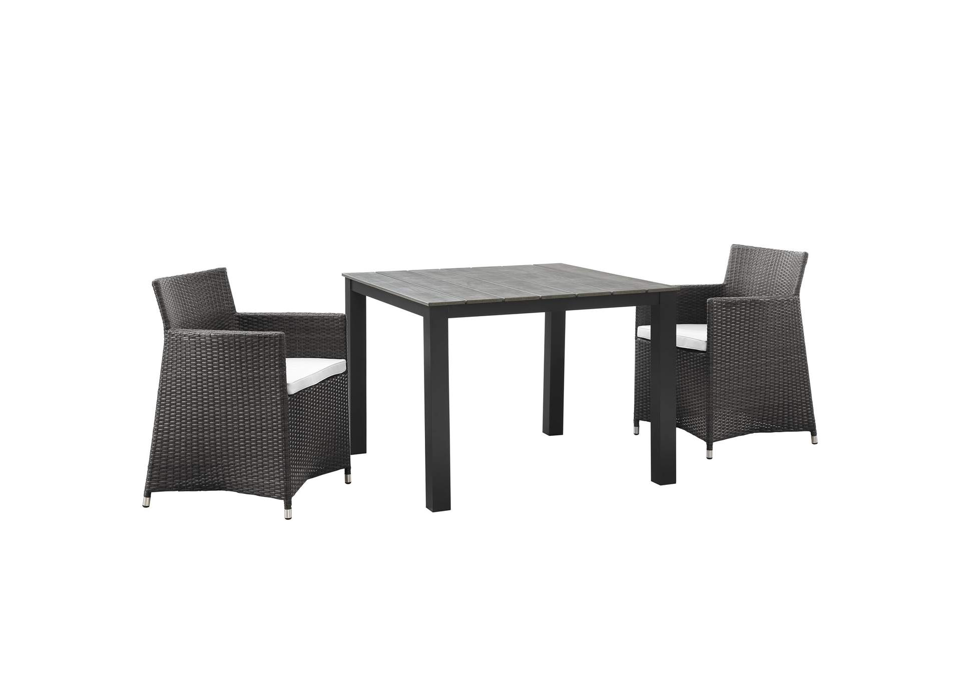 Junction Brown White 3 Piece Outdoor Patio Wicker Dining Set,Modway
