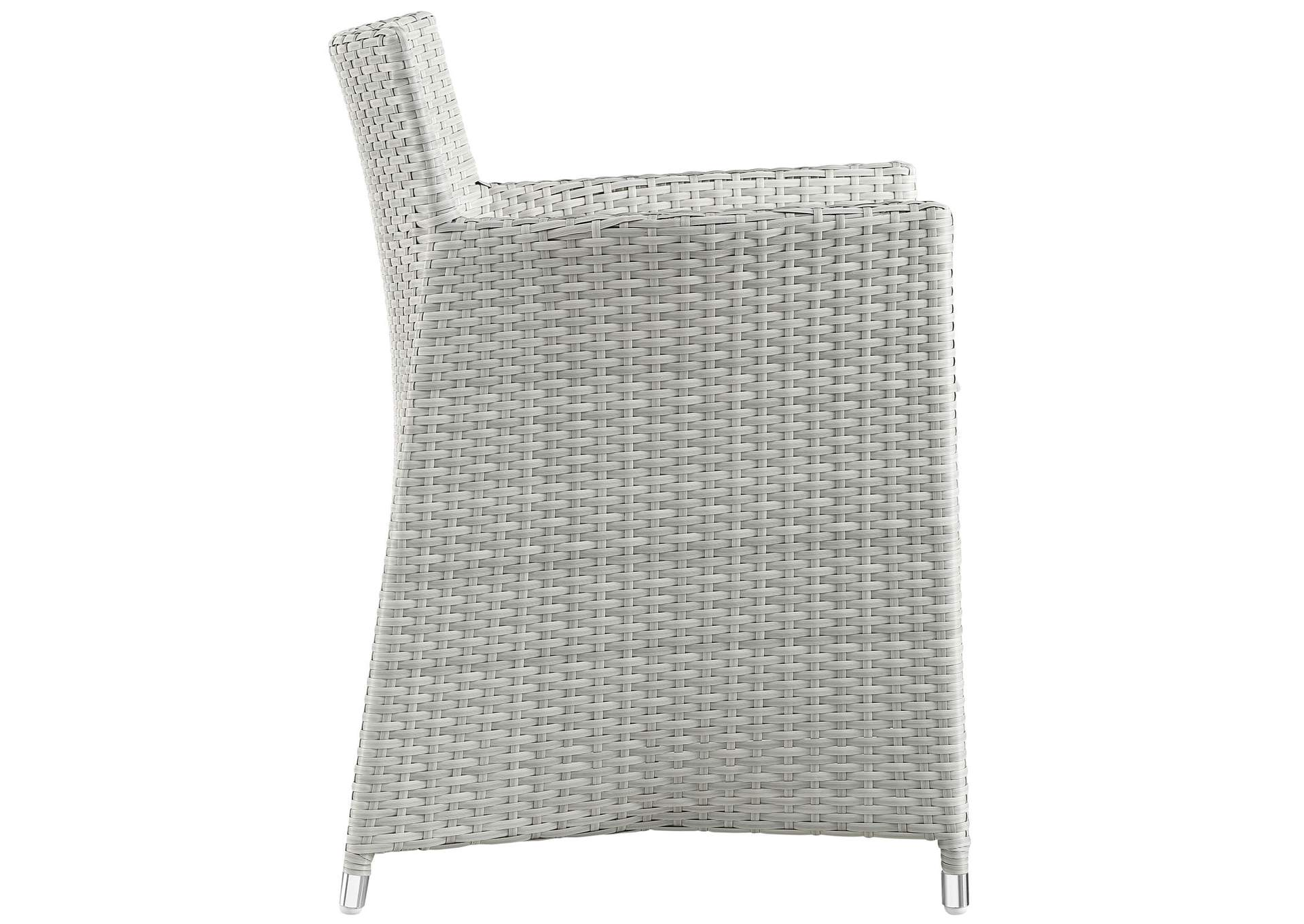 Junction Gray White 3 Piece Outdoor Patio Wicker Dining Set,Modway