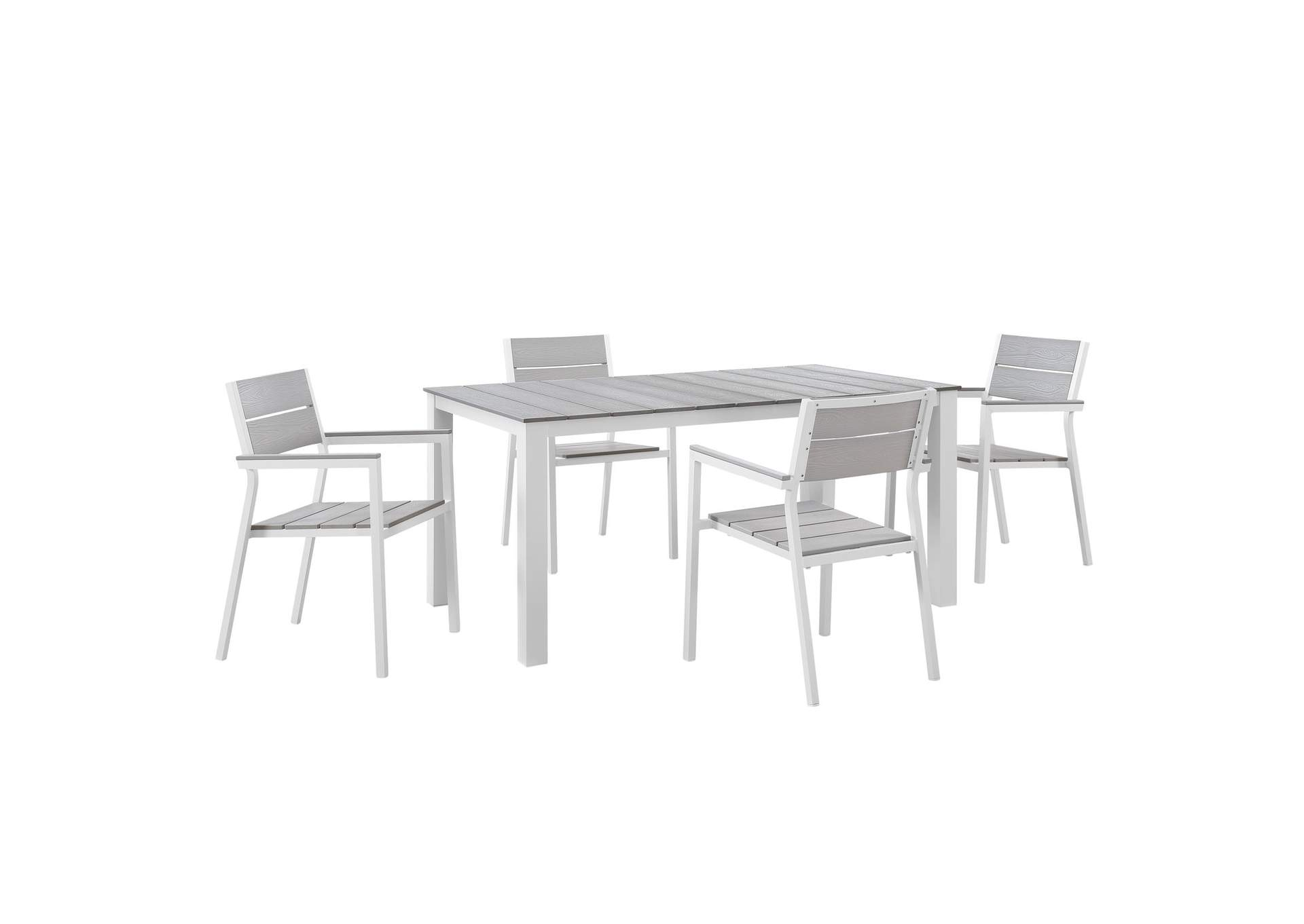 Maine White Light Gray 5 Piece Outdoor Patio Dining Set,Modway