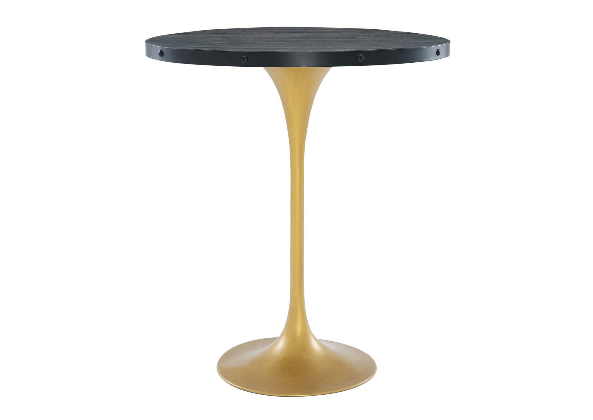 Drive Black Gold Wood Bar Table,Modway