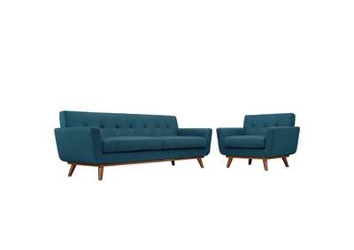 Image for Engage Azure Blue Armchair and Sofa [Set of 2]