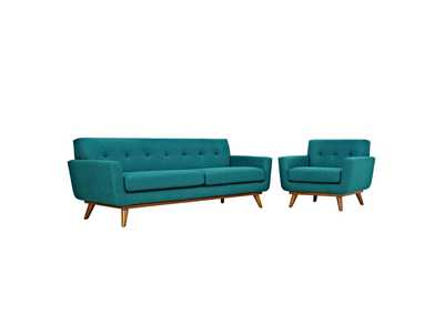 Image for Engage Teal Armchair and Sofa [Set of 2]