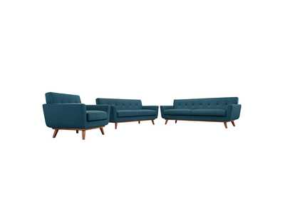 Image for Engage Azure Blue Sofa Loveseat and Armchair Set of 3