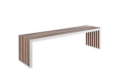 Image for Gridiron Walnut Large Wood Inlay Bench