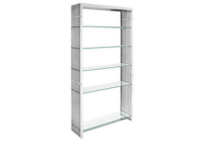 Image for Gridiron Silver Stainless Steel Bookshelf