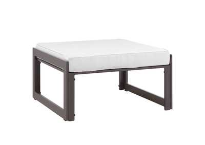 Image for Fortuna Brown White Outdoor Patio Ottoman