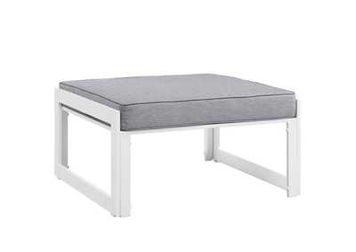 Image for Fortuna White Gray Outdoor Patio Ottoman