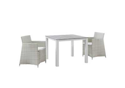 Junction Gray White 3 Piece Outdoor Patio Wicker Dining Set