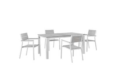 Maine White Light Gray 5 Piece Outdoor Patio Dining Set